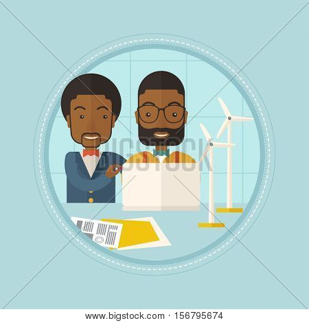 African-american workers of wind farm at work. Engineers of wind farm working on laptop. Men working with models of wind turbines. Vector flat design illustration in the circle isolated on background.