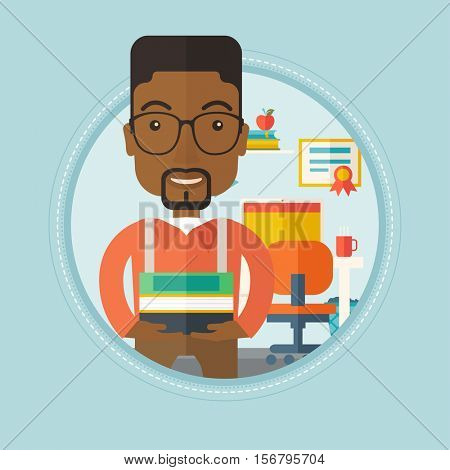 An african-american student holding a pile of books. Young smiling student standing with pile of books in hands at home. Vectr flat design illustration in the circle isolated on background.