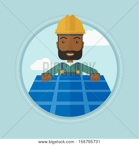 An african-american happy man installing solar panels on roof. Technician in inuform and hard hat checking solar panels on roof. Vector flat design illustration in the circle isolated on background.