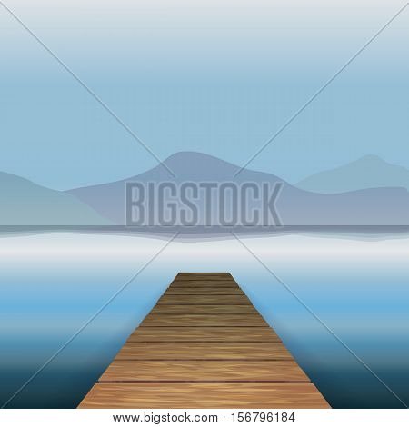 Vector color image of a wooden pier on the background of the river water, lake, sea, ocean. The background mountains hills. Relaxation. Wooden pier.