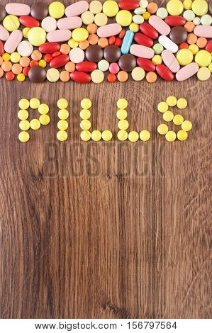 Inscription Pills And Medical Tablets Or Supplements, Health Care Concept, Copy Space For Text