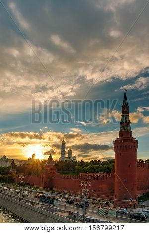 Kremlin Wall And Churches On The Sunset Background