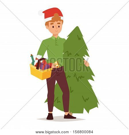 Collection going shopping people christmas celebrate with shopping bags. Shopping people man with bag in Santa red hats. Shopping people collection, Xmas tree, family shopping and sale days