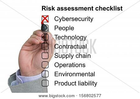 Hand crosses off the first item of a risk assessment checklist on white background