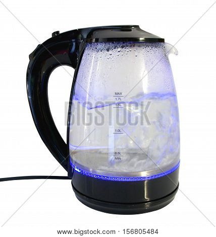 Electric kettle with boiling water on white background. Glass electric kettle with illuminated on isolated background