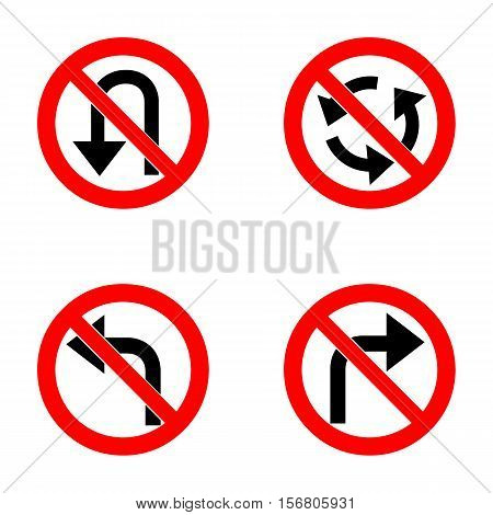 Vector set of arrow road forbidden signs, a U-Turn, do not turn right and left and roundabout - road sign isolated on white background in red forbidden circle. Vector illustration.