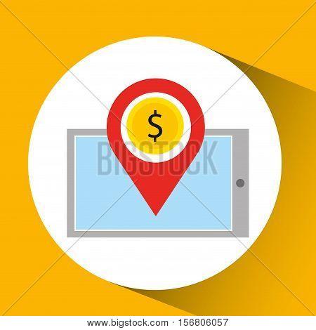 smartphone e-commerce dollar money pin vector illustration eps 10