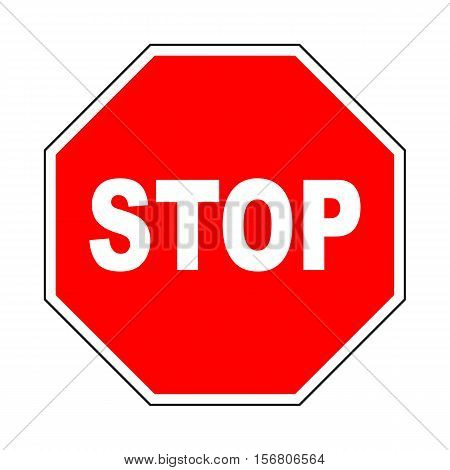 STOP road sign. Do not enter sign with text. Warning red ortogonal icon isolated on white background. Prohibition concept. No traffic street symbol. Vector illustration