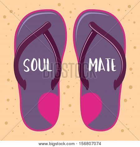 Vector stock of sandals or slippers with soul mate word