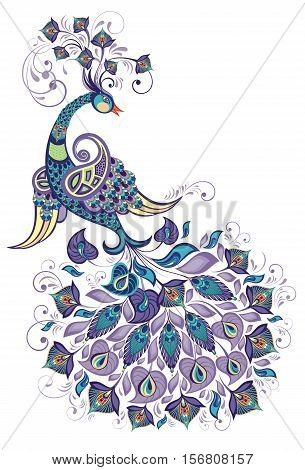 Greeting Beautiful card with peacock Peacock. Bird symbol