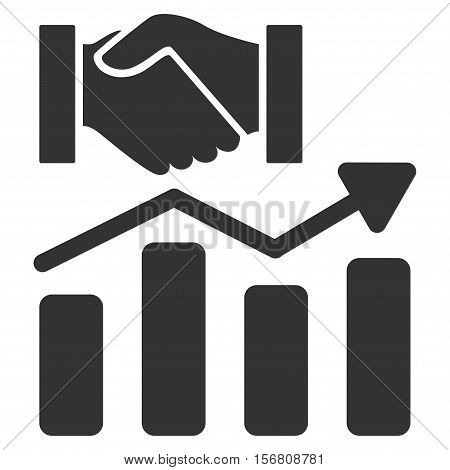 Acquisition Hands Graph Trend vector icon. Flat gray symbol. Pictogram is isolated on a white background. Designed for web and software interfaces.