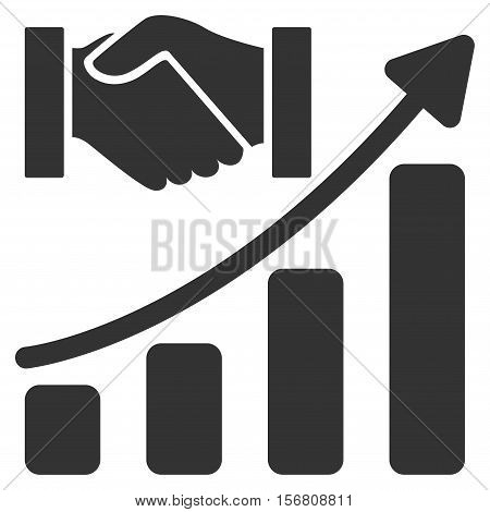 Acquisition Hands Growth Chart vector icon. Flat gray symbol. Pictogram is isolated on a white background. Designed for web and software interfaces.