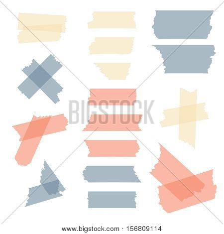 Colorful adhesive tape, masking tape pieces vector set. Transparent sticky tape illustration