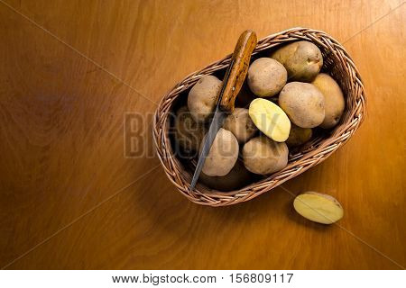 Above shot of potatoes in woven basket
