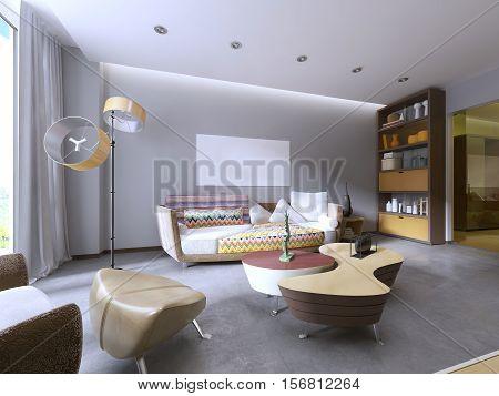 Modern Living Room In Kitsch Style.