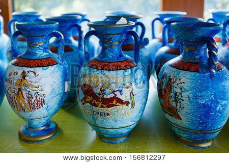 Psychro Cave Greece - October 15 2016: The ceramic native greek jugs in Creta Ceramic Store in a South-West side of the Lassithi plateau