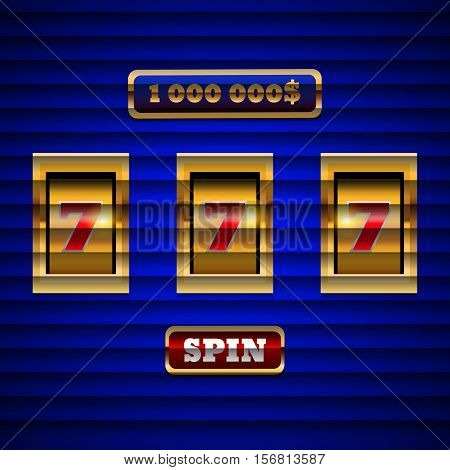 Gold Blue Design Slot Machine Background Eps 10 Vector.