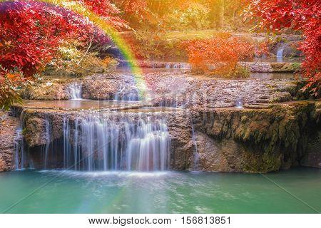 Landscape Of Wonderful Waterfall In Forest At Erawan National Park, Kanjanaburi Thailand