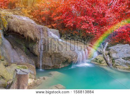 Landscape Of Wonderful Waterfall In Forest At Erawan National Park, Kanjanaburi Thailand.