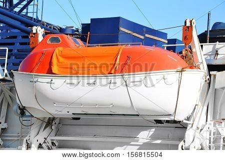Safety Lifeboat On Ship Deck