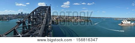Panoramic Aerial View Of Sydney Harbour Sydney  New South Wales Australia