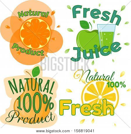 Digital vector fresh orange juice, glass and green leafes. Pear, apple and limon. Flat style