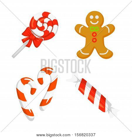 Christmas Icon Set Collection Vector. cartoon. New year traditional symbols . and icons objects. Christmas cane, christmas candy, christmas stick and Gingerbread . vector clip art