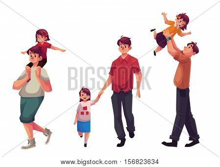 Father and daughter, set of cartoon vector illustrations isolated on white background. Dad carrying little daughter on shoulders, throwing her into air and walking together holding hands