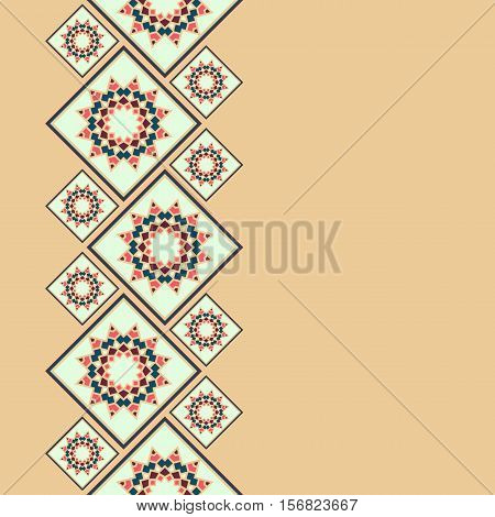 Vector geometric frame oriental style. Seamless vector border for design. Oriental vector background. Islamic design. Islamic oriental card with place for text.