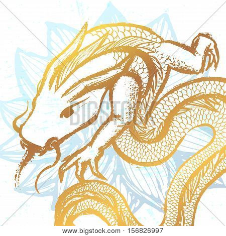 Ink hand drawn stylized chinese dragon illustration on water lily background