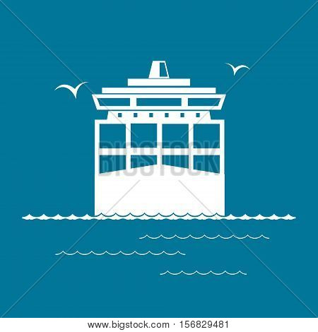 Front View of the Cargo Container Ship Isolated on Blue, Industrial Marine Vessel with Containers on Board, International Freight Transportation, Vector Illustration