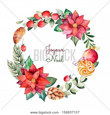 Bright wreath with leaves,branches, fir-tree, Christmas balls, berries, holly, pinecones, poinsettia