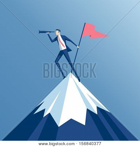 businessman climbed to the top of the mountain with a flag and looking into the spyglass employee is on a mountain top and holding a flag business concept of success and search opportunities