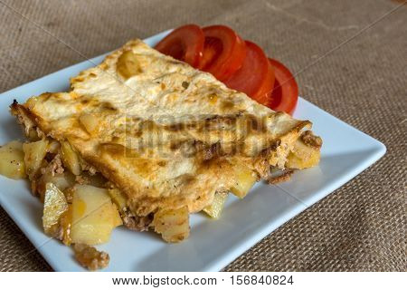 Moussaka - a traditional Balkan specialty with minced meat and potatoes