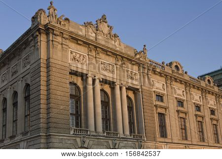 VIENNA, AUSTRIA - DICEMBER 31 2015: Architectural close up of the facade of Hofburg Palace in Vienna with basrelief with children