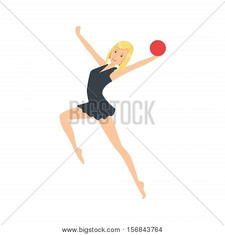 Professional Rhythmic Gymnastics Sportswoman In Black Leotaed Performing An Element With Ball Apparatus. Female Competition Program Gymnast Performance Cartoon Vector Illustration.