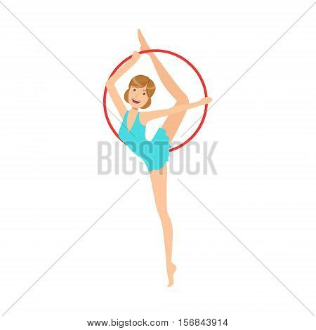 Professional Rhythmic Gymnastics Sportswoman In Blue Dress Performing An Element With Hoop Apparatus. Female Competition Program Gymnast Performance Cartoon Vector Illustration.