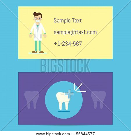 Professional business card template for dentists with cartoon man in medical uniform and decay tooth symbol, vector illustration. Dental office or clinic visiting card. Dental care concept