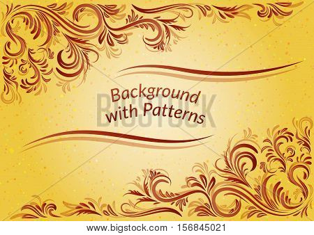 Golden Background with Abstract Vintage Contour Floral Pattern. Vector