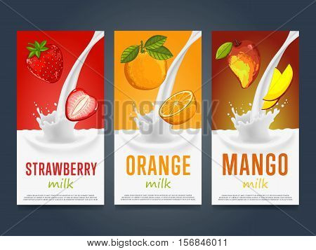 Milkshake concept with milk splash and fruit vector illustration. Milk dessert, yogurt, fruit mix, cocktail drink, fruit smoothie with strawberry, orange, mango packaging template. Dairy product.