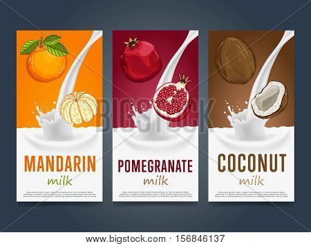 Milkshake concept with milk splash and fruit vector illustration. Milk dessert, yogurt, fruit mix, cocktail drink, fruit smoothie with mandarin, pomegranate, coconut packaging template. Dairy product.