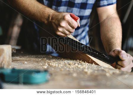 Carpenter Craftsman Lumber Timber Woodwork Concept