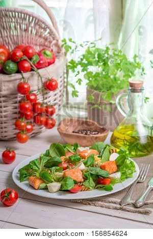 Fresh Vegetables And Salmon As Ingredients For Salad