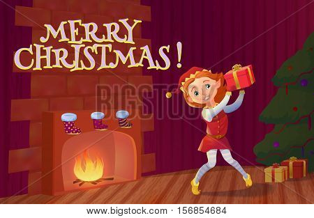 Elf holding christmas gift standing near fireplace. Christmas interior with fireplace, christmas tree and santa's elf cartoon character. Vector illustration