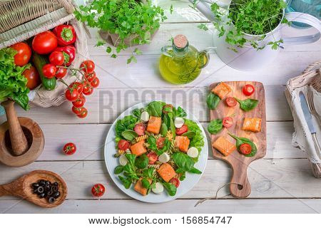 Healthy Salad With Fresh Vegetables And Salmon
