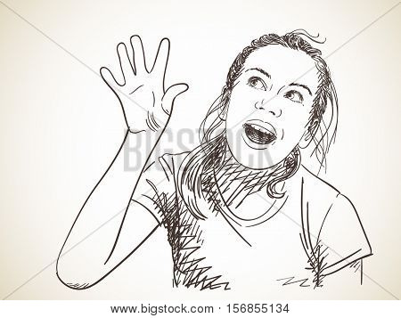 Excited girl looking sideways screaming of joy, Vector sketch Hand drawn illustration