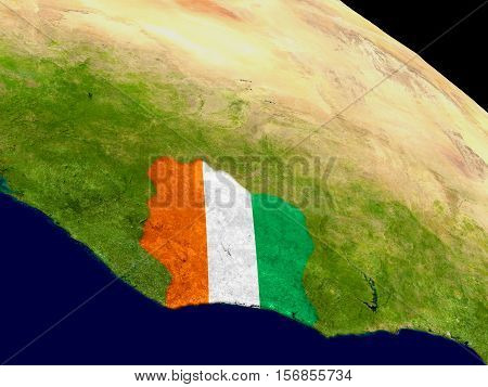 Ivory Coast With Flag On Earth