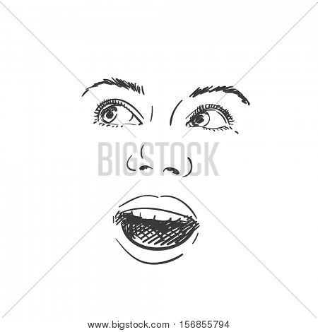 Face of excited young girl with open mouth looking sideways, Vector sketch Hand drawn illustration