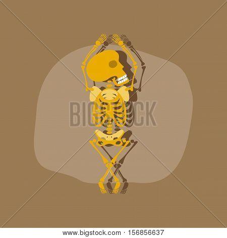 paper sticker on stylish background of skeleton Halloween monster