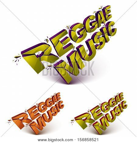 Collection Of 3D Reggae Music Word Broken Into Pieces, Demolished Vector Design Elements. Shattered
